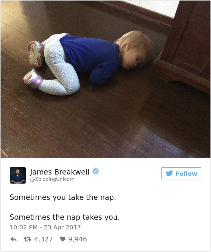 Text - James Breakwell @XplodingUnicorn Follow Sometimes you take the nap. Sometimes the nap takes you. 10:02 PM 23 Apr 2017 4,327 9,946
