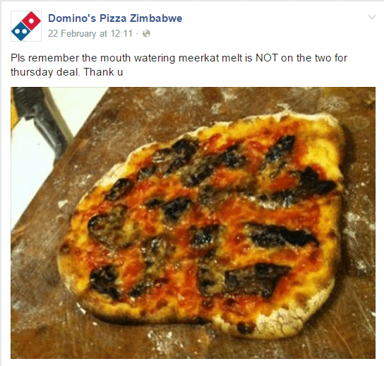 Cuisine - Domino's Pizza Zimbabwe 22 February at 12:11 - Pls remember the mouth watering meerkat melt is NOT on the two for thursday deal. Thank u
