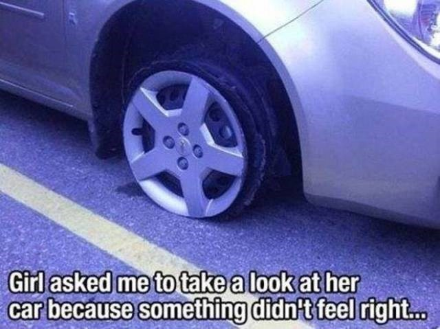 Funny meme of a driving FAIL girl has a flat tire and doesn't notice