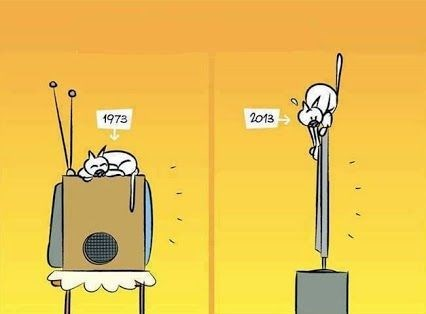 Tech cat web comic about the difference between the house cat sleeping on the TV back in the 70's VS now with flat screens.