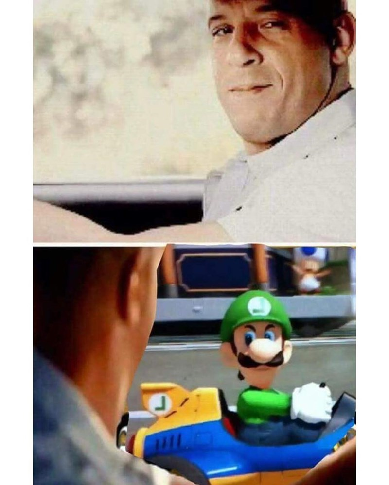 The Fast and The Funny meme of Mario passing Vin Diesel on the road.