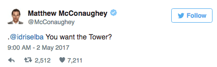 Matthew McConaughey tweets at costar Idris Elba about the Dark Tower movie.