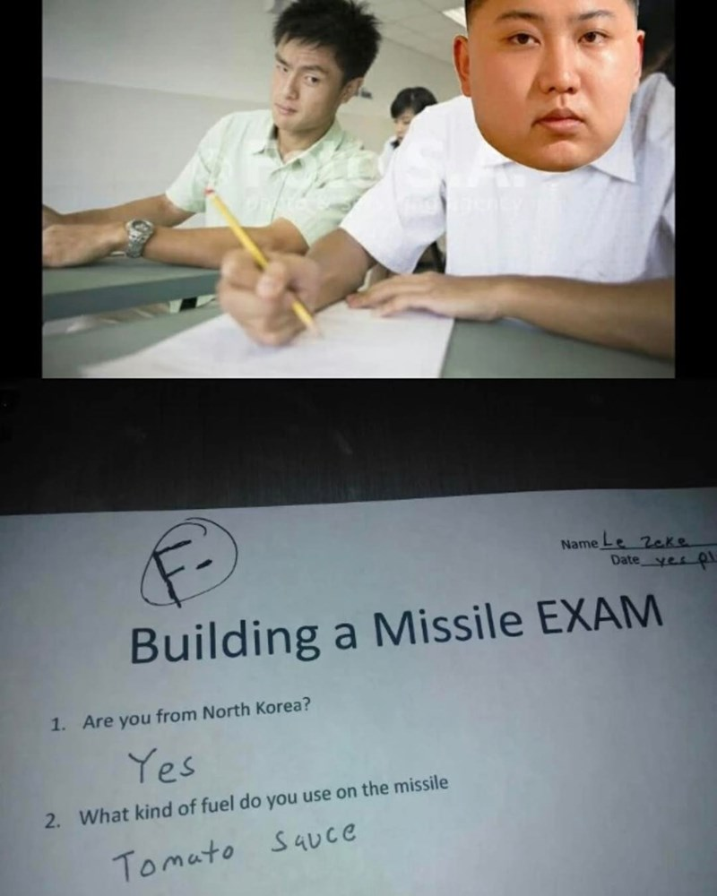 Funny meme of when you need to take an exam but your Kim Jung Un