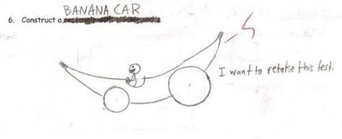 Text - BANANA CAR 6. Construct ameste I want to retake Hh fest