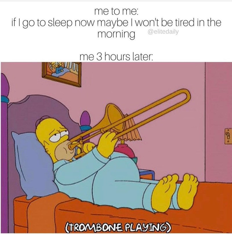 Funny Simpson's meme of Homer playing the Trombone instead of going to sleep.