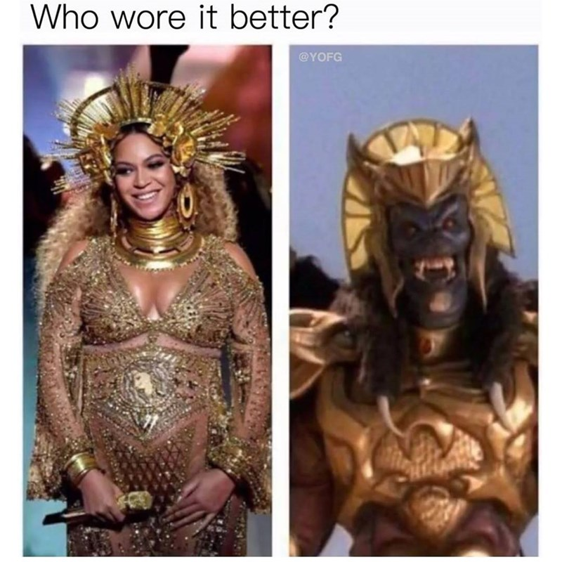 Funny pictures of Beyonce and some gold wearing beast made into a 'who wore it best' meme.