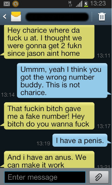 Guy texts girl aggressively about having sex but it's the wrong number.