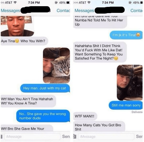 Guy tries to text girl named Tina but ends up texting funny dude with cat who has perfect response.