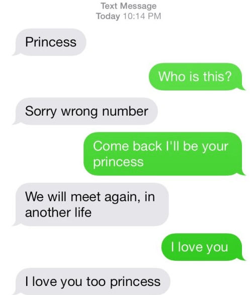 Person texts wrong number calling them princess, but still ends up being sad romantic.