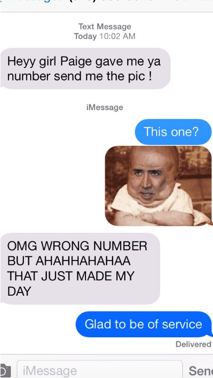 Person gets wrong number text, but has epic Nicolas Cage photoshop picture response.