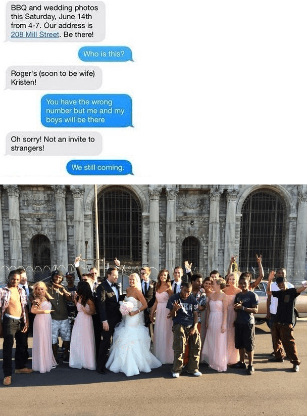 Person sends out wedding invitation to a bunch of complete strangers by accident.