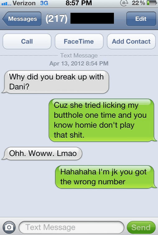 Wrong number text made perfect by super NSFW response.