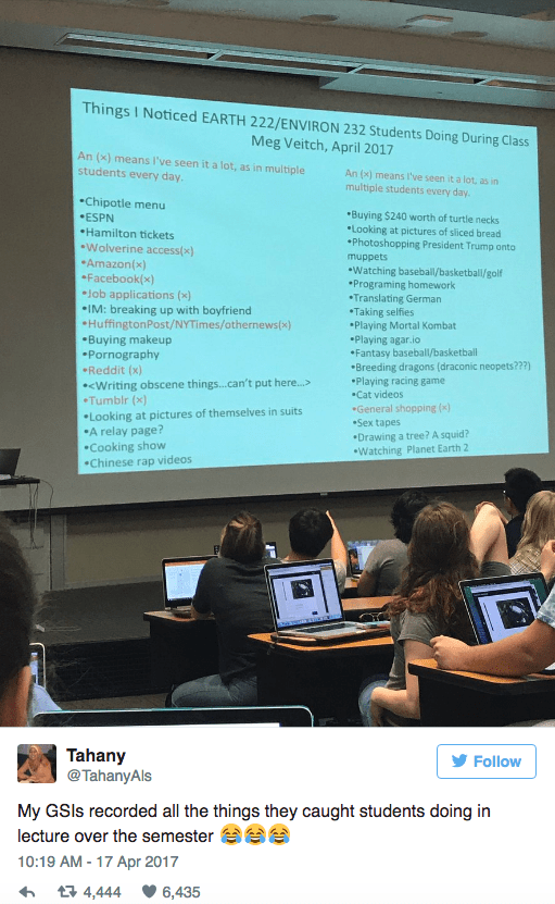 College professor pulls up picture of her class' browsing history to punish them for slacking off.