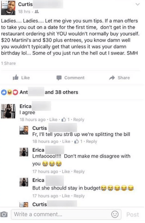 Idiot goes on Facebook rant and lies about how he had a cheap date.