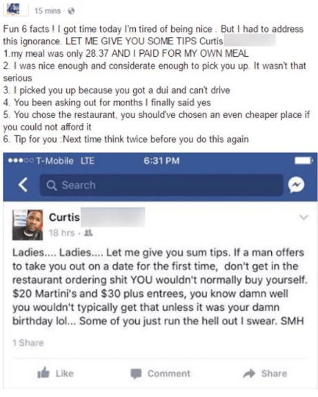 Guy proceeds to list out dating tips facts in ridiculous rant about cheap date.