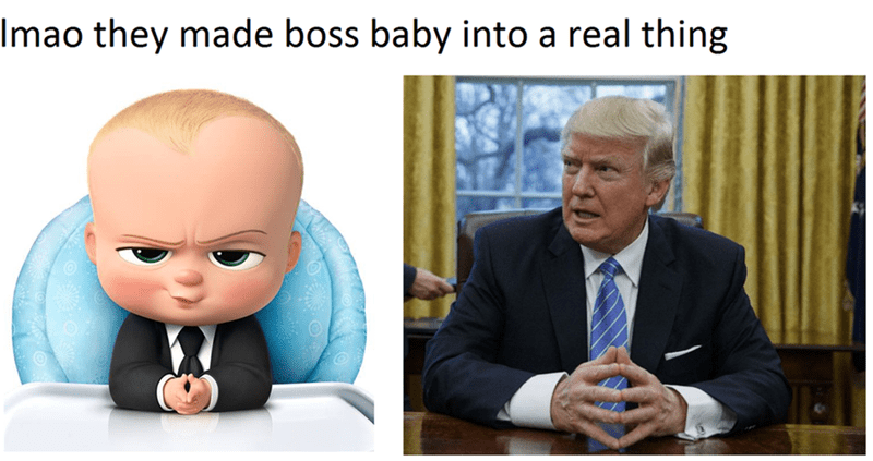 Funny meme: Comparing Boss Baby to Donald Trump.