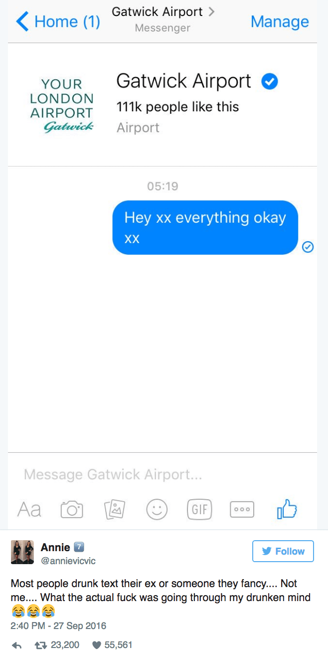 Lady gets drunk and ends up asking Gatwick Airport Facebook page if they're okay.