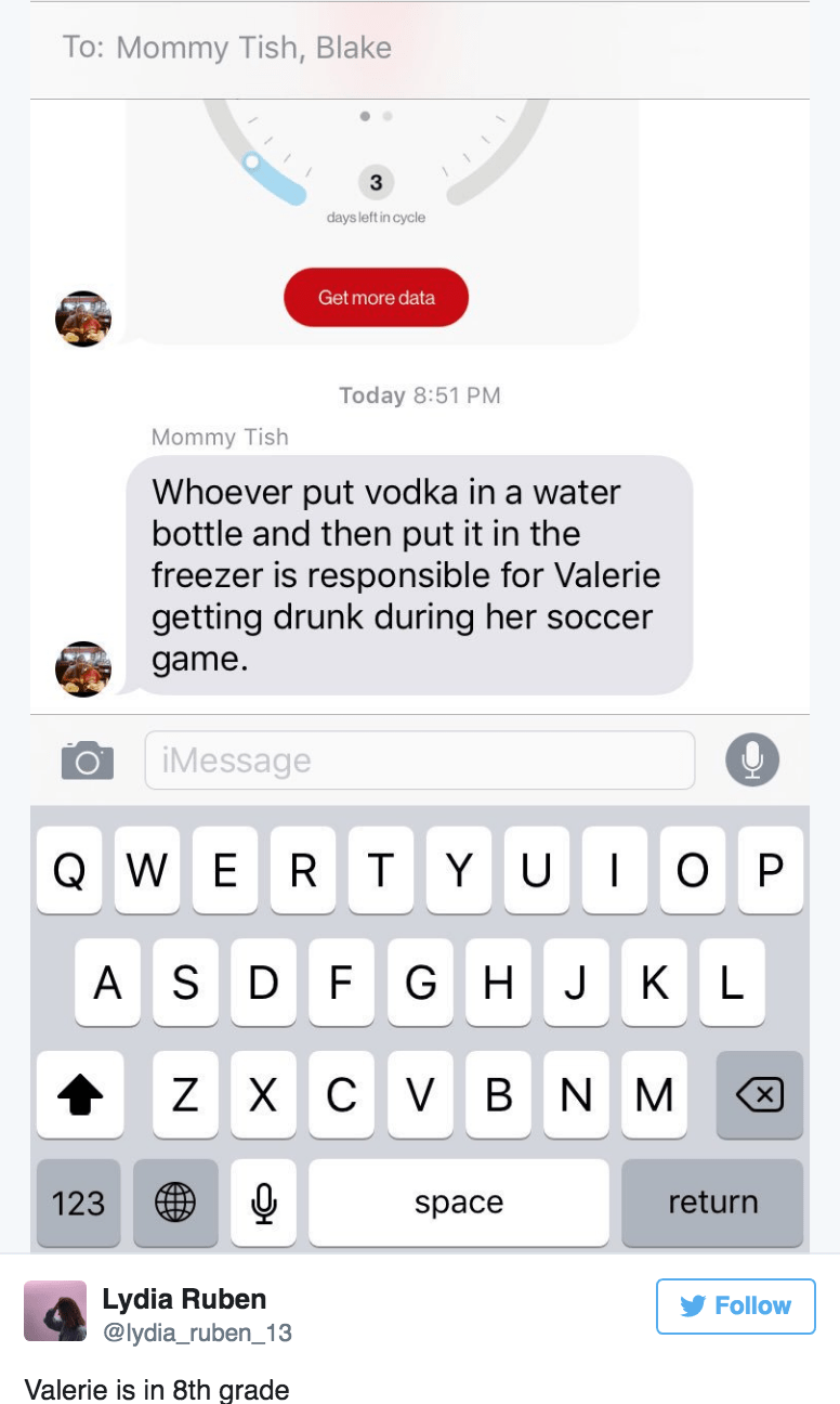 Mom sends group text out to kids about how someone put vodka in little daughter's sports bottle.