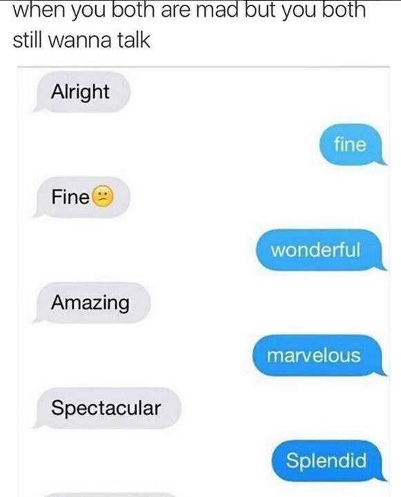 Text - when you both are mad but you both still wanna talk Alright fine Fine wonderful Amazing marvelous Spectacular Splendid
