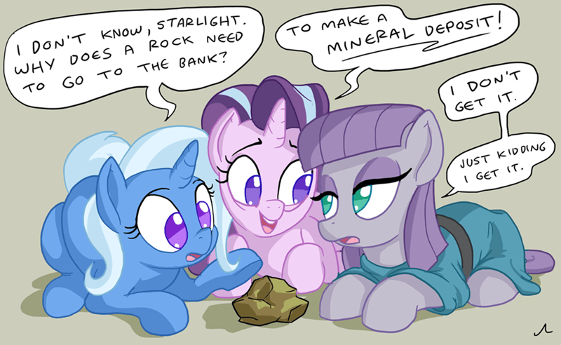 the great and powerful trixie starlight glimmer puns doc wario maud pie rock solid friendship