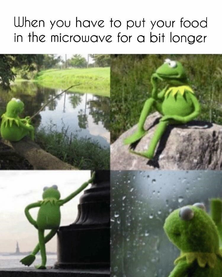Kermit stares into the distance while waiting for his food to get out of the microwave, funny meme.