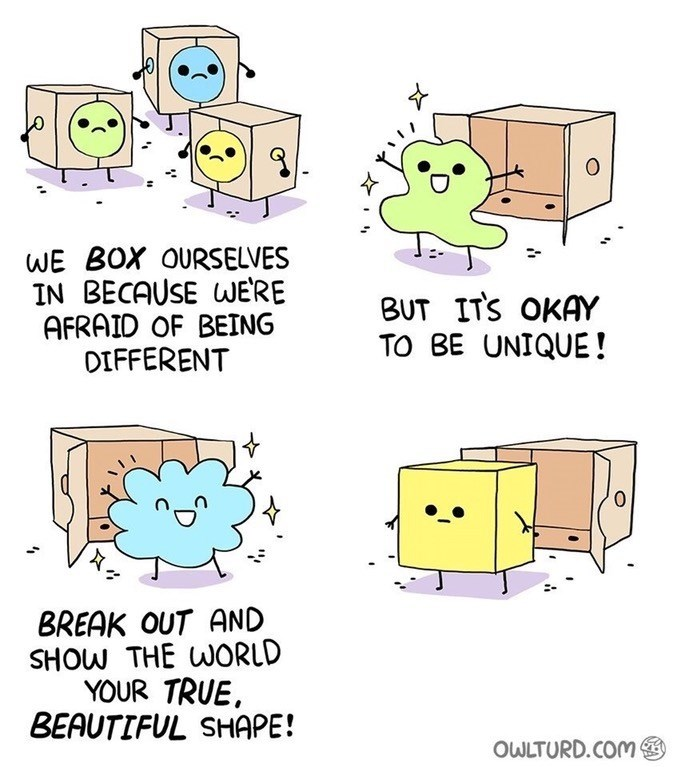 Web comic about boxing ourselves up, tells people to reveal their true selves, a literal box shaped creature emerges.