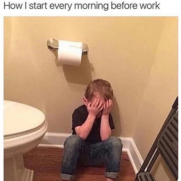 Funny meme about the mornings before going to work - picture of kid in bathroom crying with hands covering face, toilet paper roll above his head.