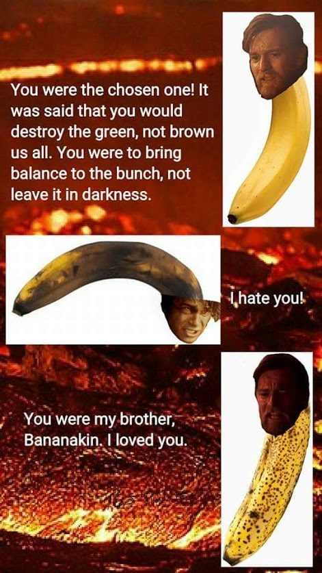 Banana - You were the chosen one! It was said that you would destroy the green, not brown us all. You were to bring balance to the bunch, not leave it in darkness. hate you! You were my brother Bananakin. I loved you.