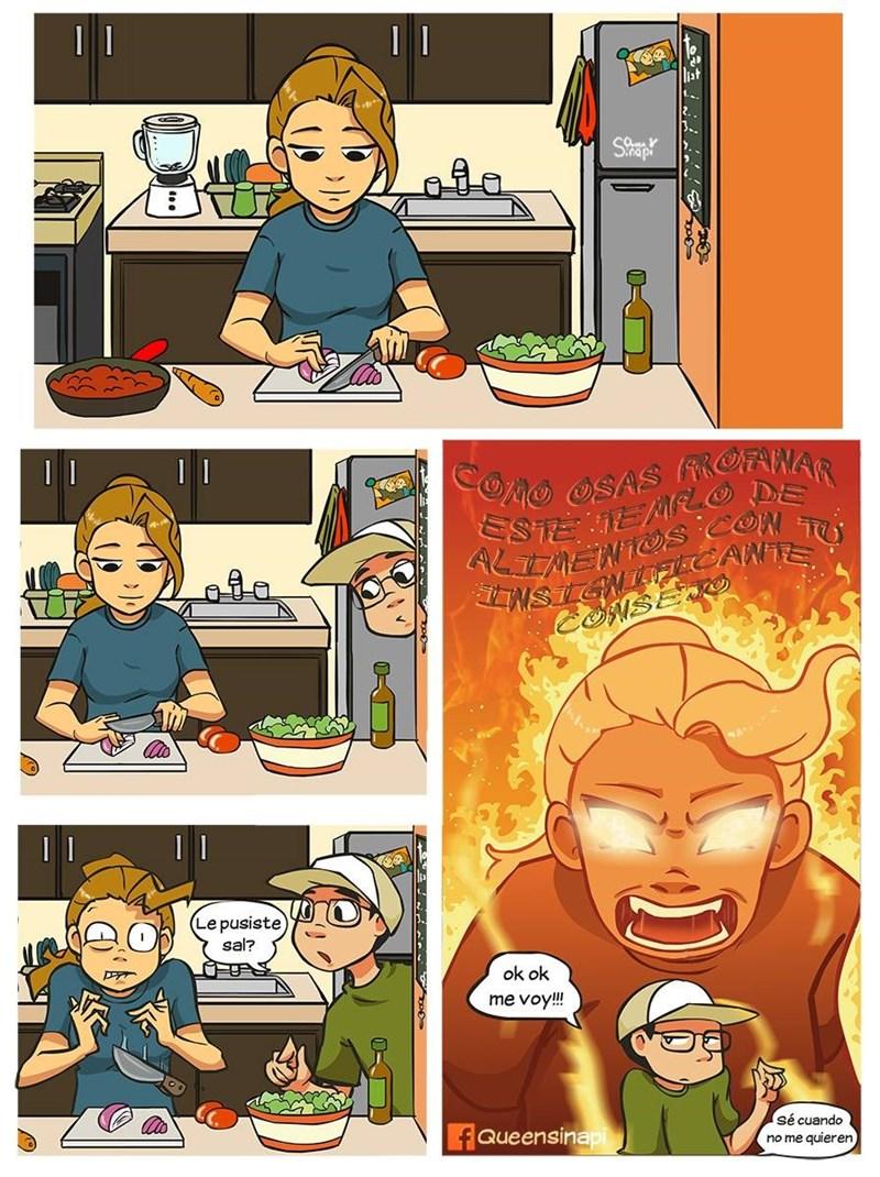 estas cocinando y alguien entra a decirte que hacer
