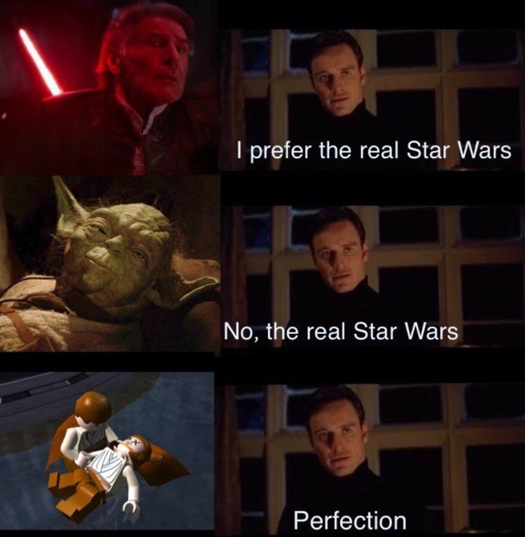 Perfection meme that concludes that Lego Star Wars is the real star wars.