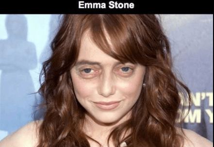 Steve Buscemi's face photoshopped on Emma Stone.