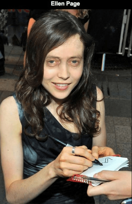 Steve Buscemi's face photoshopped on Ellen Page.