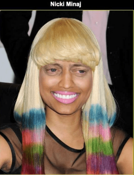 Steve Buscemi's face photoshopped on Nicki Minaj.