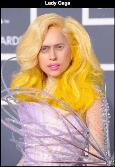 Steve Buscemi's face photoshopped on Lady Gaga.