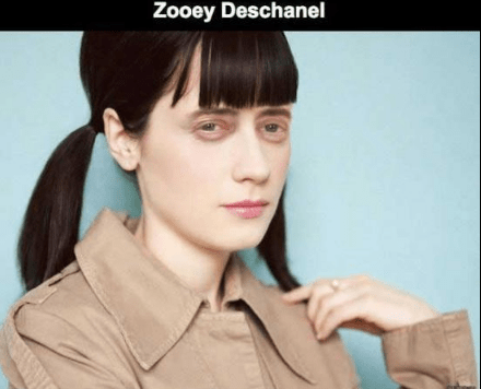 Steve Buscemi's face photoshopped on Zooey Deschanel.