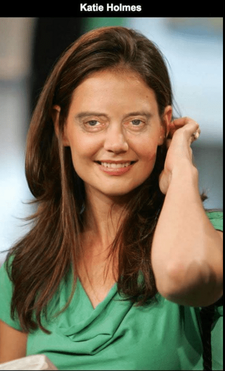 Steve Buscemi's face photoshopped on Katie Holmes.