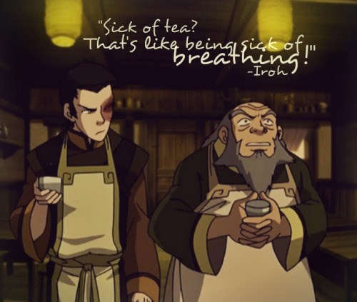 Uncle Iroh talking about being sick of breathing in funny joke.
