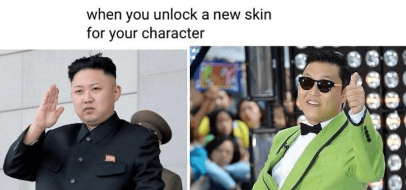 Funny meme when you unlock a new skin for your character