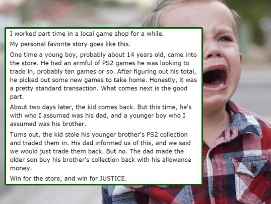 Little kid trades in his younger brother's video games at GameStop for money, and dad brings them back in.