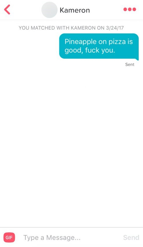 Text - Kameron YOU MATCHED WITH KAMERON ON 3/24/17 Pineapple on pizza good, fuck you. Sent Type a Message... Send GIF L