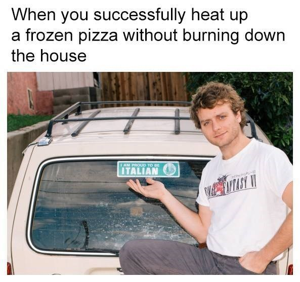 """Meme featuring photo of Mac DeMarco and a bumper sticker that says """"proud to be italian"""" - regarding heating up a frozen pizza without burning it."""