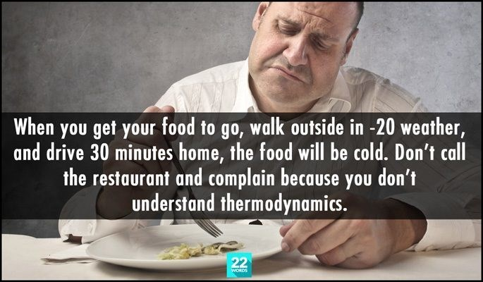 Text - When you get your food to go, walk Outside in -20 weather, and drive 30 minutes home, the food will be cold. Don't call the restaurant and complain because you don't understand thermodynamics. 22 WORDS