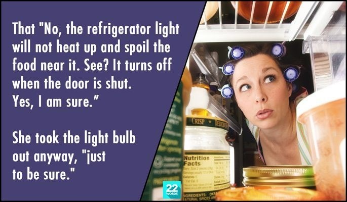 "Skin - That ""No, the refrigerator light will not heat up and spoil the food near it. See? It turns off when the door is shut. Yes, I am sure."" RISP She took the light bulb out anyway, ""just to be sure. Nutrition Facts 22 NGREDIENTS o ATURAL SPICES AND WORDS"