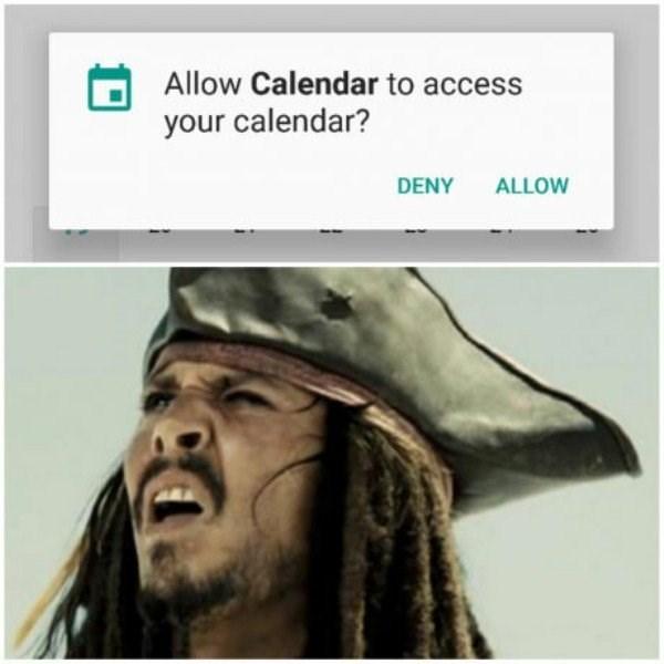 Face - Allow Calendar to access your calendar? DENY ALLOW