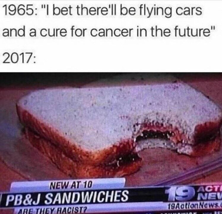 funny memes - Flying Cars in the Future 1965 - but in 2017 we asking if sandwiches are racits.