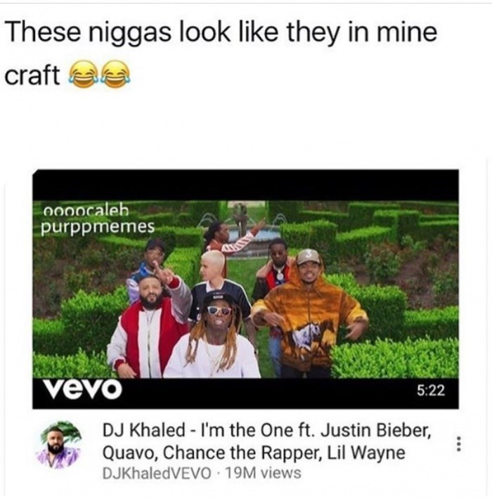 Funny observation meme about how DJ Khaled and Justin Bieber look like they are in minecraft with Lil Wayne