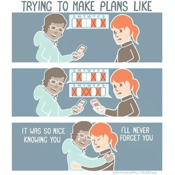 Funny web comic about how difficult it is to make plans.