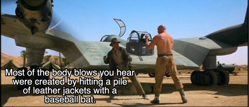 Vehicle - Most of the body blows you hear were created by hitting a pile of leather jackets with a baseball bat. @9ppingremlins