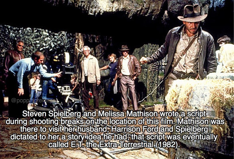 Tree - @poppingter Steven Spielberg and Melissa Mathison wrote a script during shooting breaks.on the location of this film. Mathison was there to visit herhusband, Harrison Ford and Spielberg dictated to her a storyidea he had that script was eventually called ET. the Extra-Terrestrial (1982)