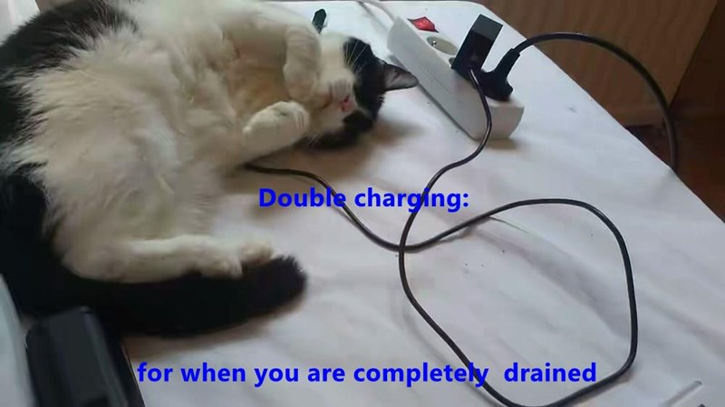 Funny cat meme of a cat that is charging, but with TWO chargers instead of just one.